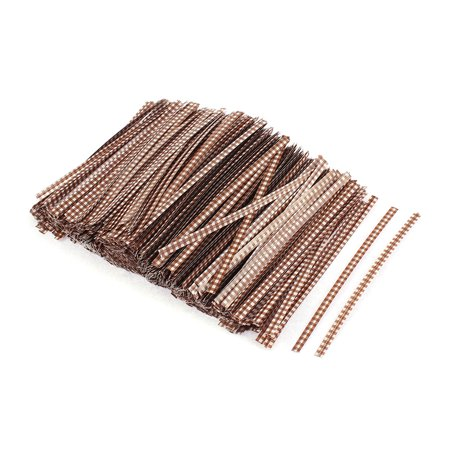Grid Pattern Gift Candy Bags Packaging Twist Ties Coffee Color 1200PCS