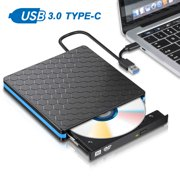External DVD Drive, USB 3.0 Type C CD Drive, Dual Port DVD-RW Player, Portable Optical Burner Writer Rewriter, High Speed Data Transfer for Desktop PC MA OS Windows 7
