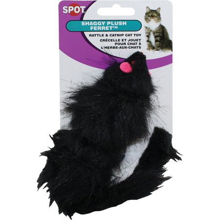 Shaggy Plush Ferret with Rattle & Catnip Cat Toy, Black
