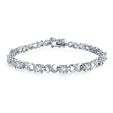 3885fe9aac13f4 Bling Jewelry - 9Ct Simulated Sapphire Ruby Morganite Oval AAA CZ Infinity Tennis  Bracelet For Women Gold Silver Plated Brass - Walmart.com