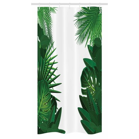 Leaf Stall Shower Curtain, Exotic Fantasy Hawaiian Tropical Palm Leaves with Stylish Floral Graphic Artwork, Fabric Bathroom Set with Hooks, 36W X 72L Inches Long, Green White, by Ambesonne (Tropical Floral)