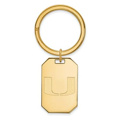 Logoart Sterling Silver W Gp University Of Miami Key Chain Gp026umf
