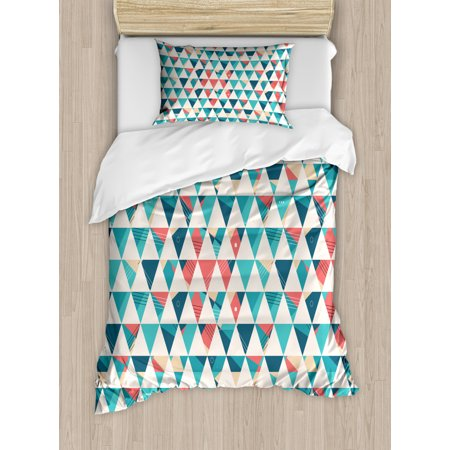 Geometric Duvet Cover Set, Abstract Triangles Hexagons Soft Colors Modern Artwork Cubism Inspired, Decorative Bedding Set with Pillow Shams, Turquoise Teal Coral, by Ambesonne ()