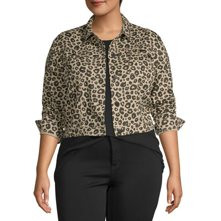 Love Sadie Women's Plus Size Animal Print Jacket