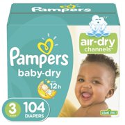 Pampers Baby-Dry Extra Protection Diapers, Size 3, 104 Count