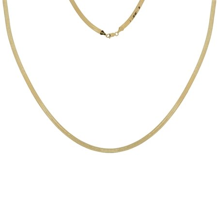 14k Yellow Gold 5.25mm Triple Herringbone Chain Necklace Lobster Lock Closure - Length: 16 to 24