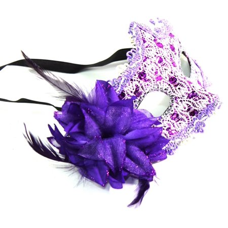 Women's Flower Feather Lace Eye Mask Masquerade Ball Party Halloween Costume (Purple) New - Mens Masquerade Ball Costumes