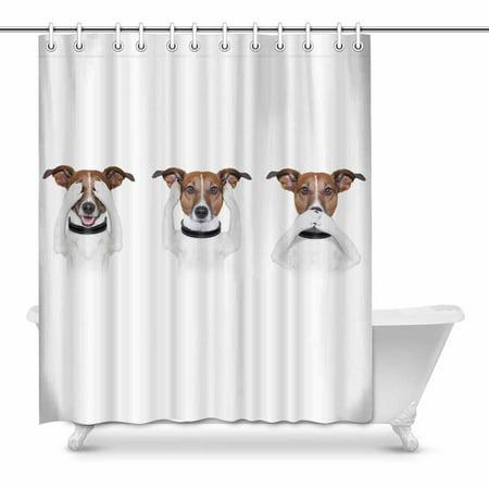 MKHERT See No Evil Hear No Evil Speak No Evil Funny Dog House Decor Shower Curtain for Bathroom Decorative Bathroom Shower Curtain Set 60x72
