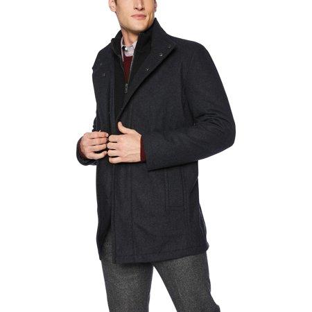Marc York Mens Coat Charcoal Coyle Wool Collar Jacket XL Marc New York Black Jacket