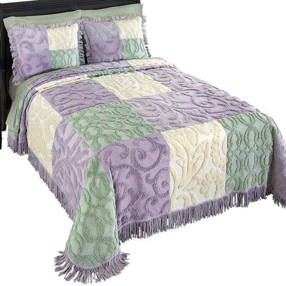 mariel patchwork chenille lightweight bedspread king purple. Black Bedroom Furniture Sets. Home Design Ideas