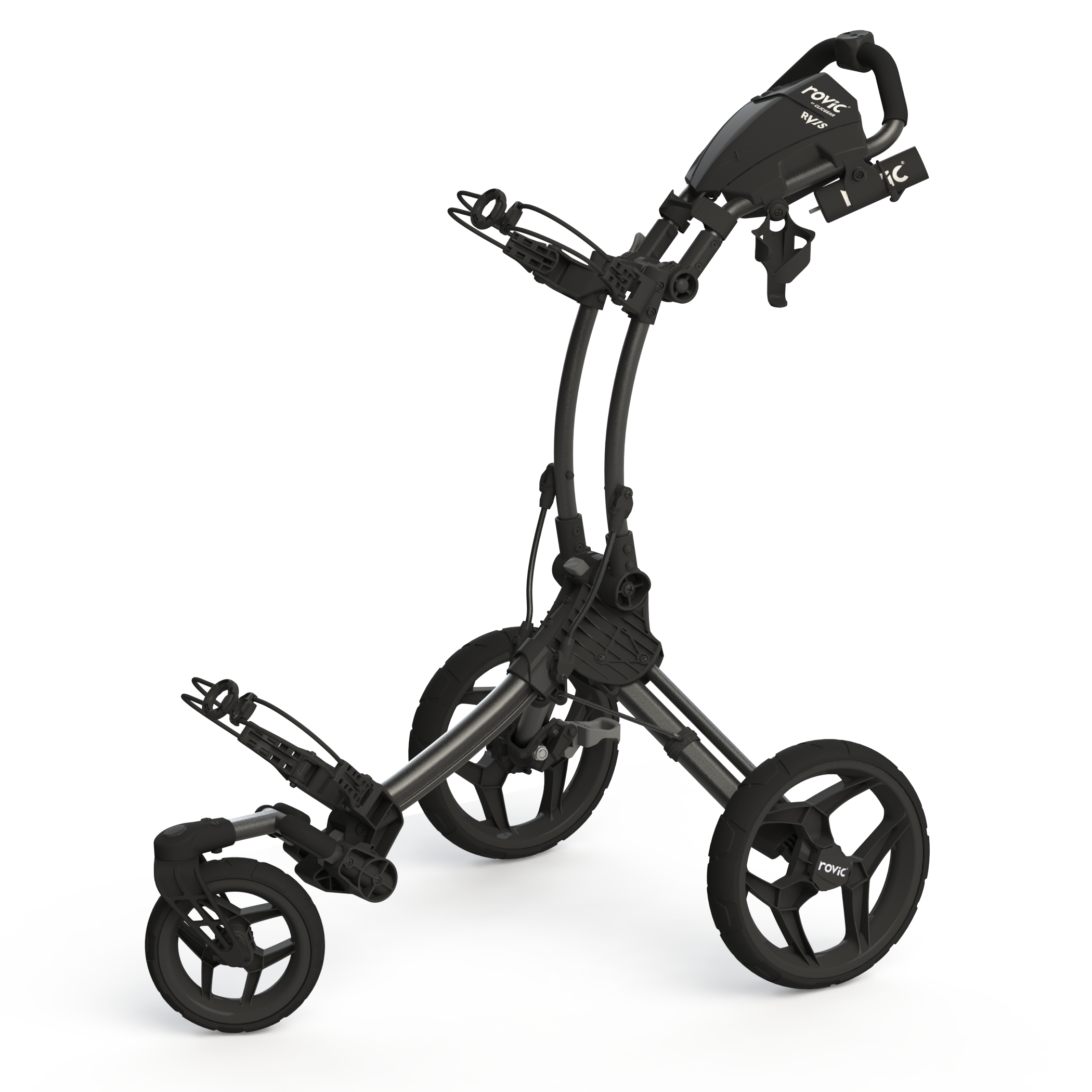Rovic by Clicgear RV1S Swivel 3-Wheel Golf Push Cart (Charcoal/Black)