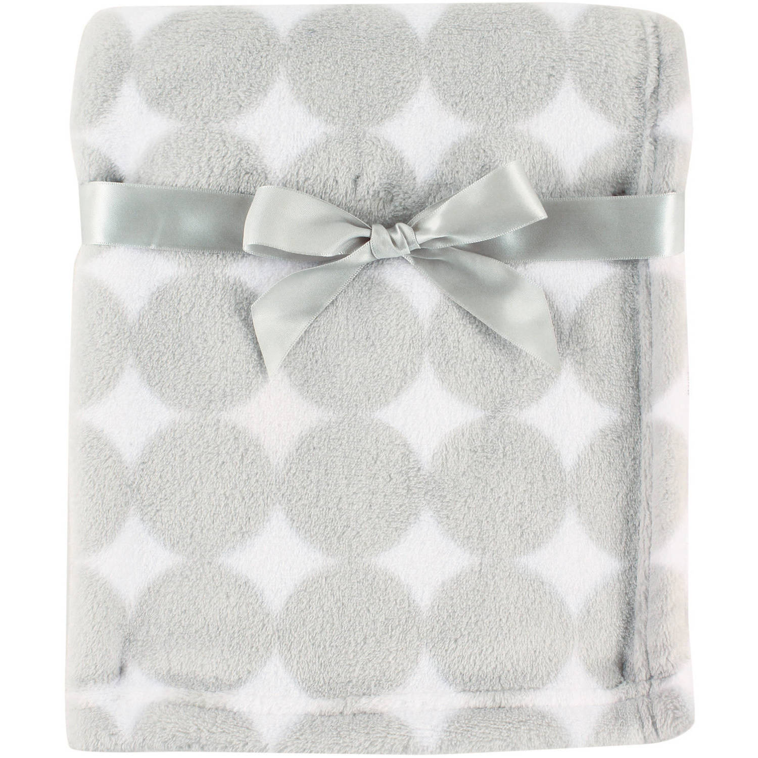 Luvable Friends Coral Fleece Blanket, Gray Dot
