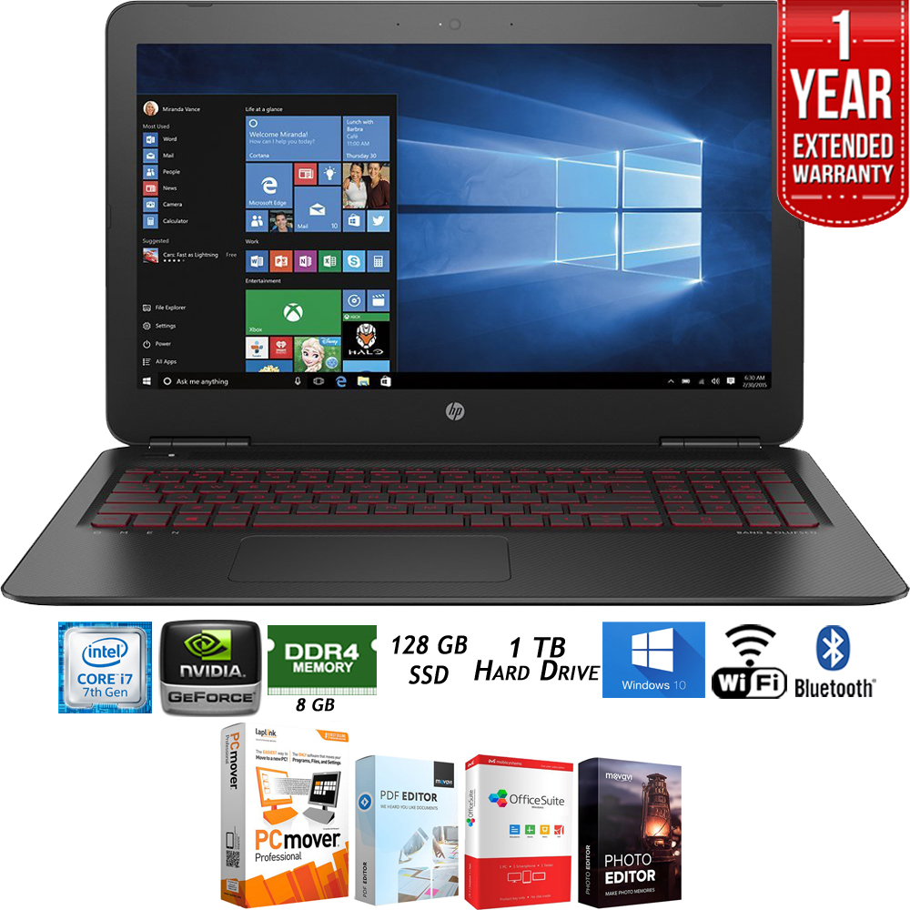 "HP OMEN 15.6"" Gaming Laptop Computer - Intel i7, 8GB RAM, NVIDIA GTX 1050 (W2N39UA#ABA) + Elite Suite 18 Standard Editing Software Bundle +1 Year Extended Warranty"