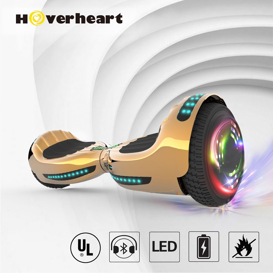 "HOVERHEART UL 2272 Certified 6.5"" LED Flash Wheel Bluetooth Hoverboard Self Balancing Wheel Electric Scooter - Chrome Gold"