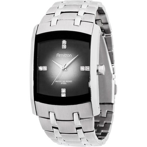 Armitron Men's Swarovski Crystal-Accented Silver-Tone Gray-Degrade Dial Dress Watch