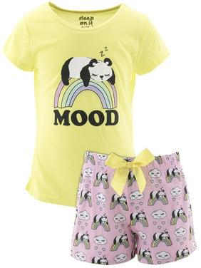 Sleep On It Girls Panda Mood Yellow Short Pajamas