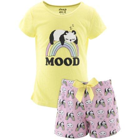 Sleep On It Girls Panda Mood Yellow Short Pajamas](Panda Pajamas)