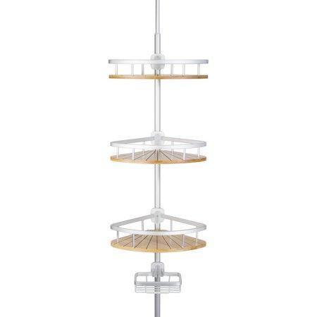 4 Tier Shower Bathtub Tension Pole Caddy – Bamboo Aluminum Baskets - 11.8