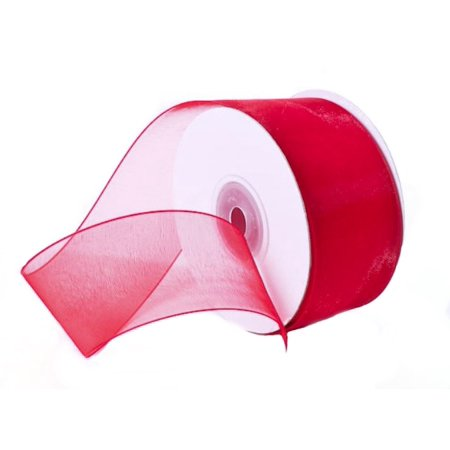 "1.5"" Plain Sheer Organza Nylon Ribbon 25 Yards - Red"