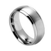 8mm Titanium Brushed Center Shiny Grooved Edge Wedding Band Ring For Men Or Ladies