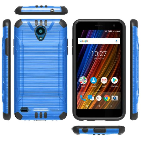 For Cricket Wave Case Dual Layer Brushed Texture Hybrid Combat Phone Cover (Blue/Black)