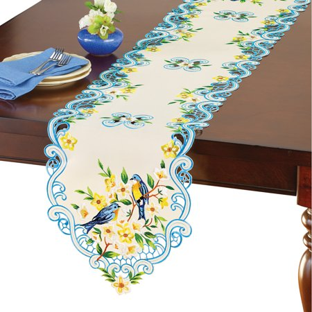 Ivory Bluebirds Embroidered Table Linens with Scrolling Design - Spring Dining Room Décor, Runner](Spring Table Runners)