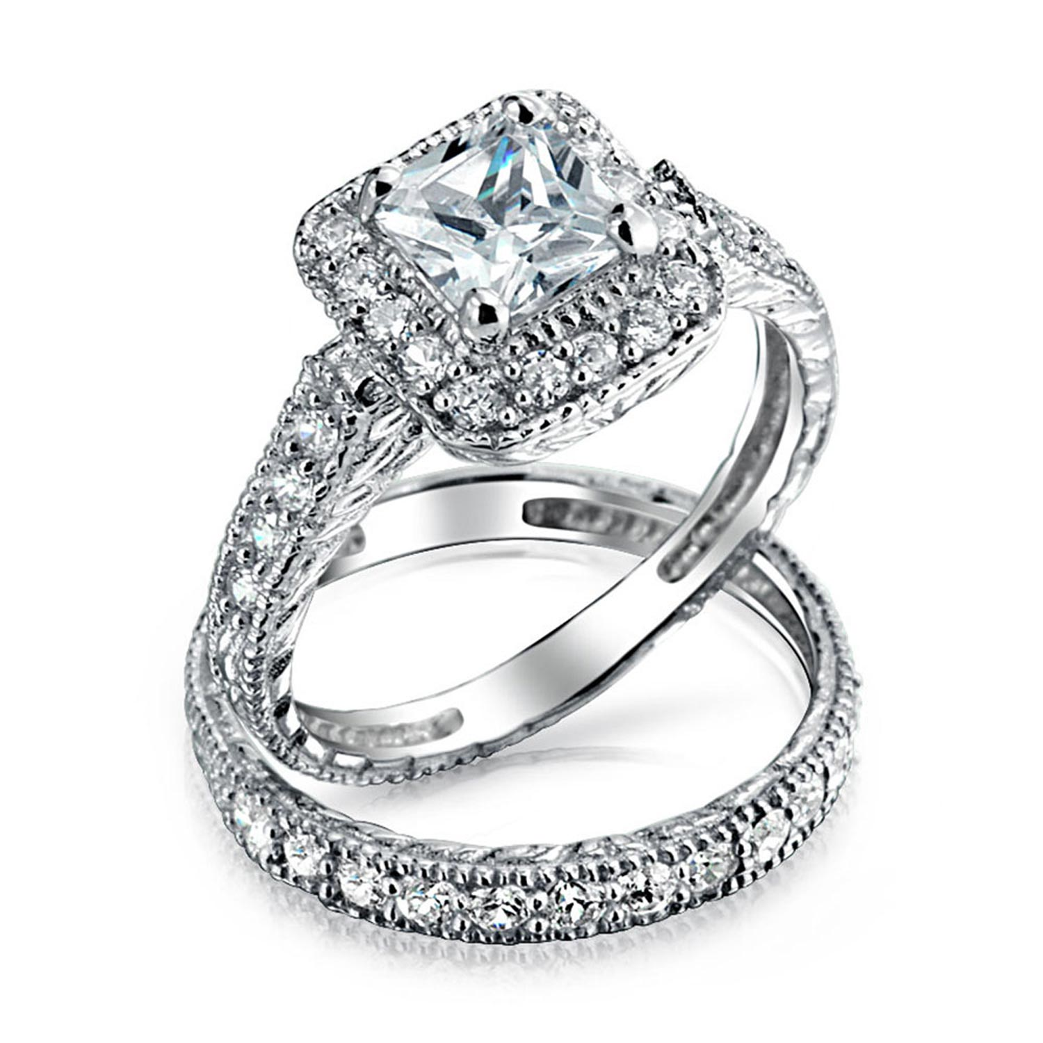 Bling Jewelry Silver Princess CZ Deco Style Engagement Wedding Ring