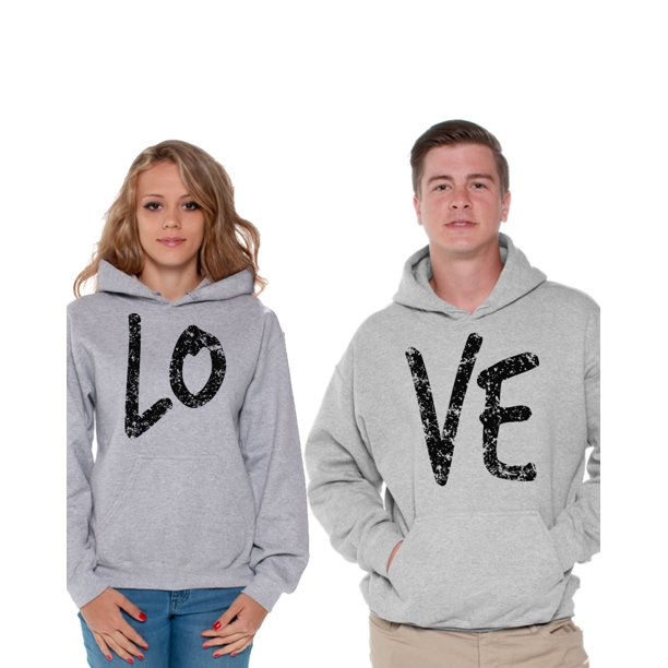 Awkward Styles Love Matching Couple Hoodies Love Sweatshirt for Women Love Sweater for Men Boyfriend Girlfriend Matching Couple Sweaters Husband Wife Sweatshirts for Couples Love Gifts for Couples