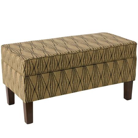 Skyline Furniture Espresso Hand Shapes Flax Polyester Polyurethane Pine Storage Bench