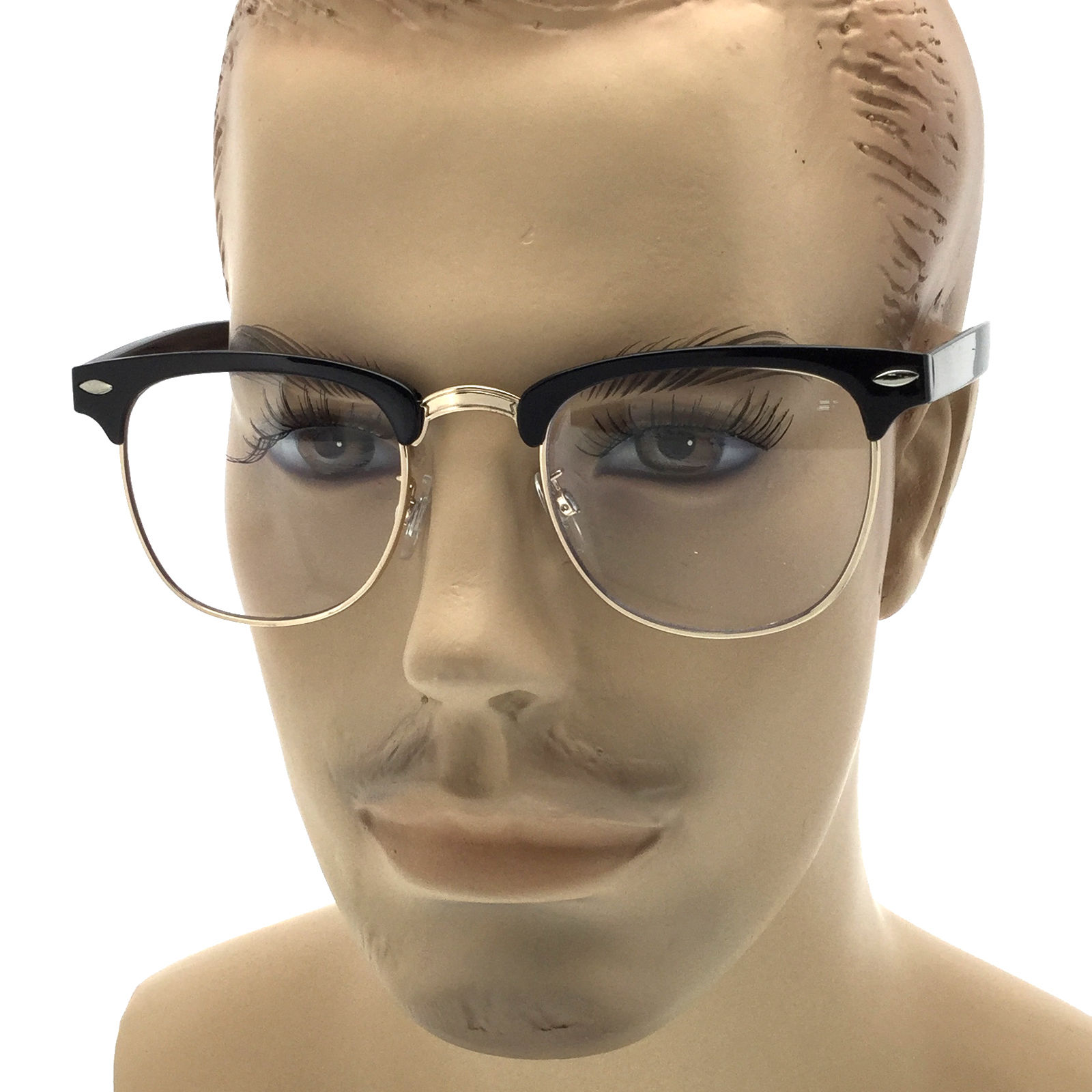 f1249dd4b0 MENS LARGE Frame Non-Rx Fashion Style Glasses Clear Lens Half Frame Retro  Nerd