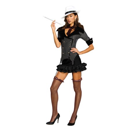 Gangster Doll Pinstripe 1920s Capone Sexy Adult Women's Costume