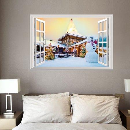 - 3D Christmas Wall Sticker Removable Mural Decals Vinyl Art Living Room Decors