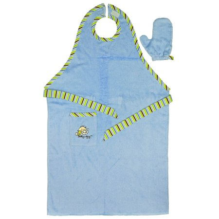 Stay Dry Bath Apron and Towel with Washmitt, Blue