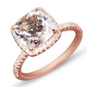 1.50 Carat Cushion Cut Peach Pink Morganite and Diamond Halo Engagement Ring in 10k Yellow Gold for Women