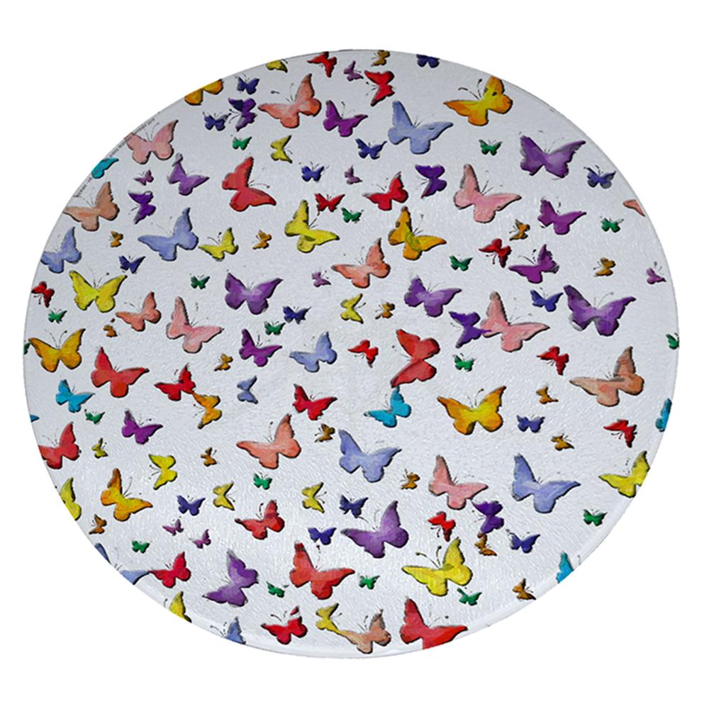 "KuzmarK 12"" Round Glass Cutting Board - Butterfly Wings"