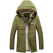 Men's Winter Jacket Hooded Fur Collar Thick Parka Coat Velvet Lining Warm Coat