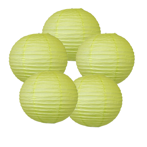 "Just Artifacts 24"" Pistachio Green Paper Lanterns (Set of 5) - Decorative Round Paper Lanterns for Birthday Parties, Weddings, Baby Showers, and Life Celebrations"
