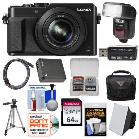 Panasonic Lumix DMC-LX100 4K Wi-Fi Digital Camera (Black) with 64GB Card + Case + Flash + Soft Box + Battery + Tripod +