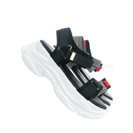 Fancy1 by Forever Link, Sporty Platform Nylon Sandal - Womens Hook & Loop Athletic Rubber Sole