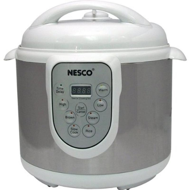 Nesco 6-Quart Stainless Steel Pressure/Slow Cooker and St...