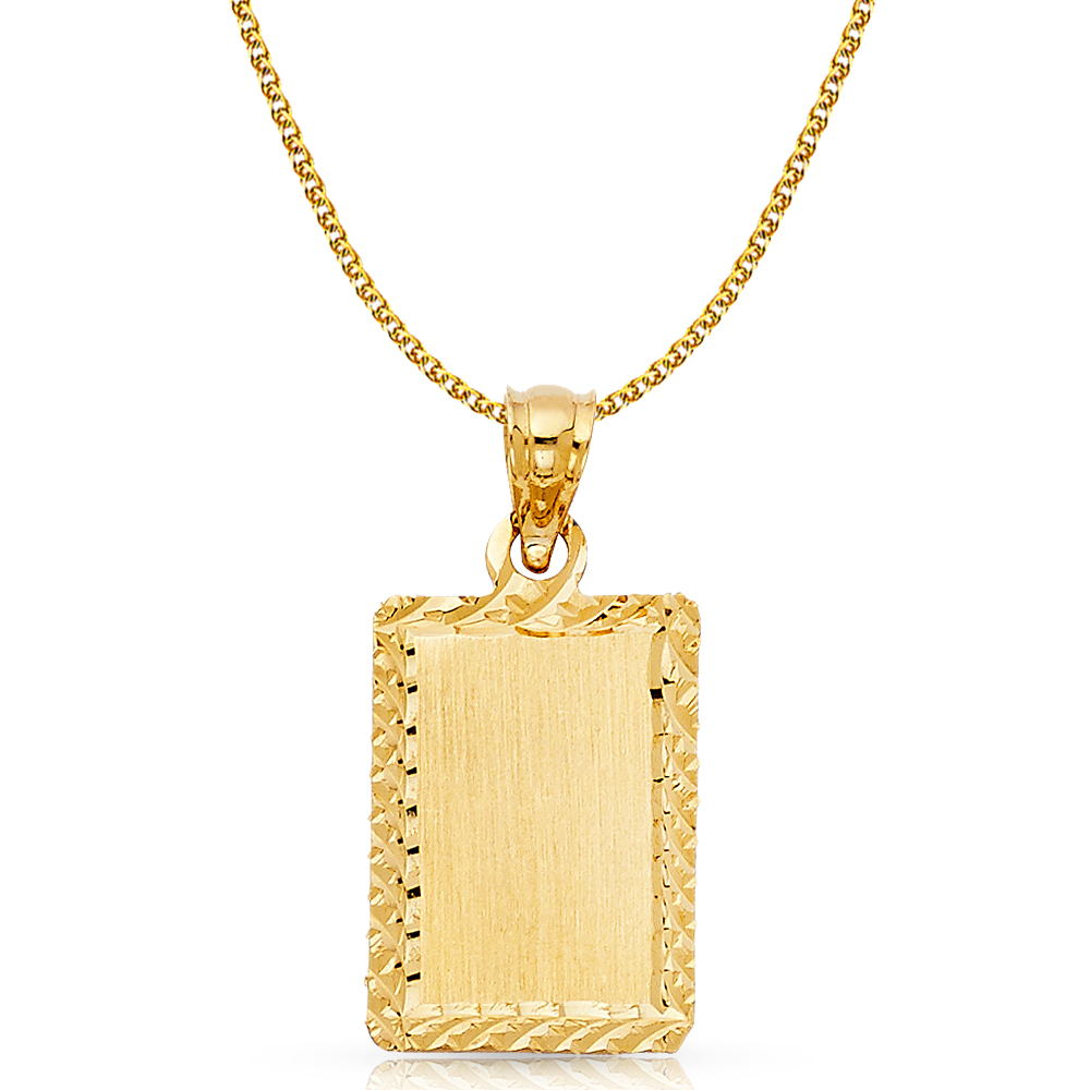 14K Yellow Gold Plain Stamp Charm Pendant For Necklace or Chain