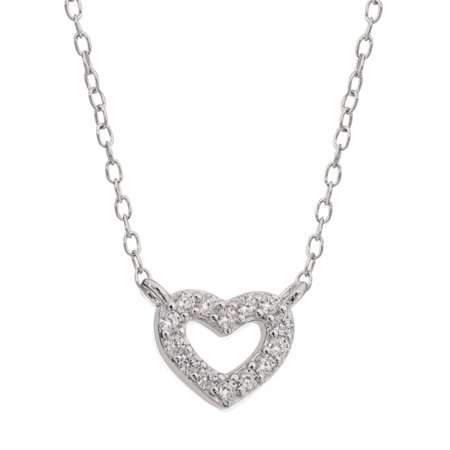 - Sterling Silver Cubic Zirconia Heart Necklace, 16