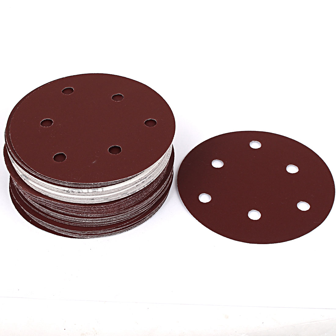 "Unique Bargains 5"" Dia 400 Grit 6 Holes Self Stick Sanding Paper Discs Brown 50 Pcs"