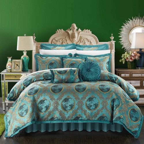 9-Piece Angelica Decorator Upholstery Quality Jacquard Fabric Complete Master Bedroom Comforter Set and Pillows Ensemble