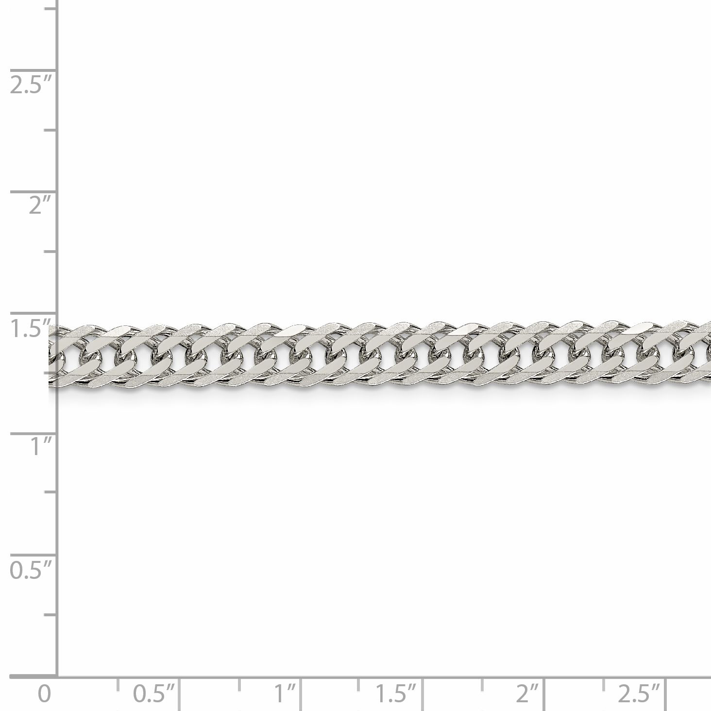 925 Sterling Silver 6.25mm Double 6 Side Diamond-cut Flat Link Chain 24 Inch - image 1 of 5
