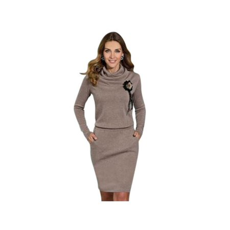 Topumt Chic Women Long Sleeve Slim Party Sweater Casual Mini Dress