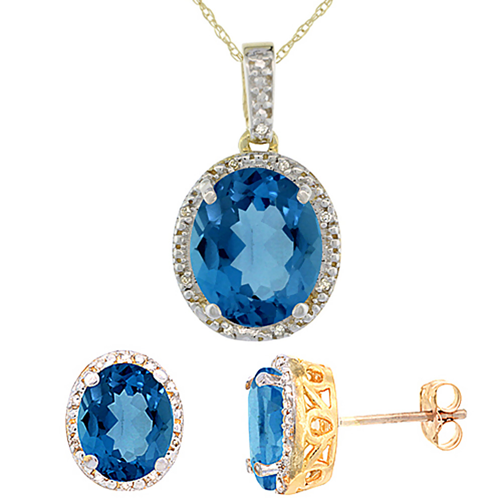 10K Yellow Gold Natural Oval London Blue Topaz Earrings & Pendant Set Diamond Accents by WorldJewels