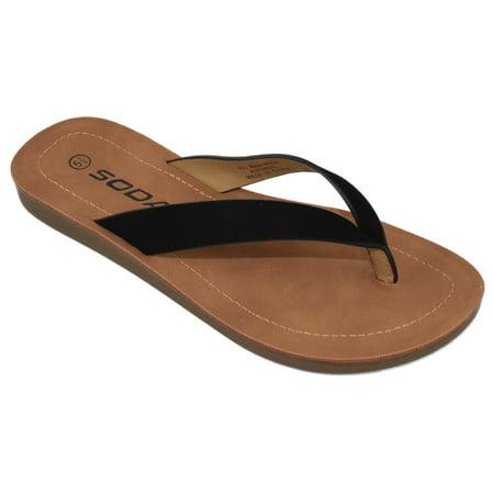 Soda Shoes Women Flip Flops Basic Plain Slippers Thongs Sandals Strap Casual Beach ELLA-S Black 5.5 Womens Flat Silver Thong Shoes