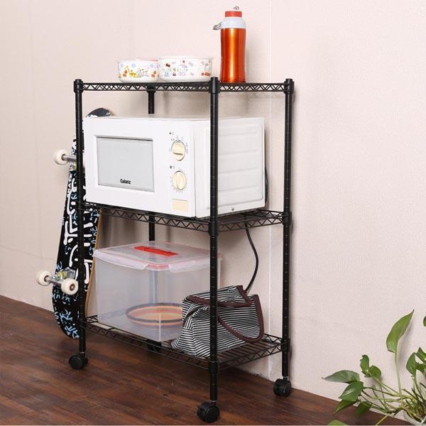 3-Tier Wire Shelf Shelving Unit Modern Rolling Cart Rack with Wheels