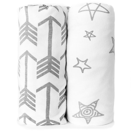 Kids N' Such Bassinet Sheets - Premium Jersey Knit Cotton- Will fit ANY Bassinet Mattress Size or Shape - Super Soft - Safe for Babies - 2 Pack Bassinet Co (Baby Safe Sleeper)